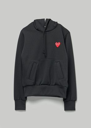 Comme des Garcons Women's Red Heart Hooded Sweatshirt in Black Size XS 100% Polyester