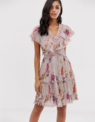 Lace & Beads tiered mini dress in soft gray floral print