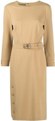 Alberta Ferretti Belted Midi Dress