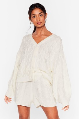 Nasty Gal Womens Knit Over You Yet Cardigan and Shorts Lounge Set - White - S