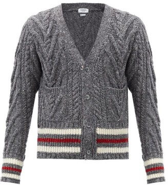 Thom Browne Striped Wool-bend Cable-knit Cardigan - Grey