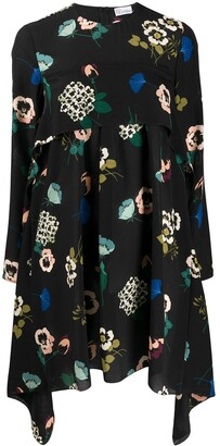 RED Valentino floral print handkerchief longsleeved dress