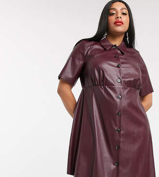 Asos DESIGN Curve leather look mini shirt dress-Red