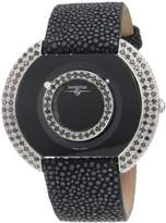 """Swisstek SK47804L Limited Edition Swiss Black Diamonds Watch With Blue Sapphire Set Crown, Genuine Stingray """"Galuchat"""" Strap And Sapphire Crystal"""