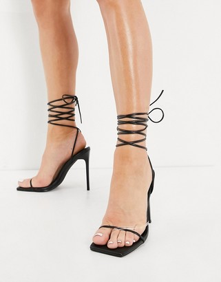 Simmi Shoes Simmi London Sina heeled sandals with ankle tie in black