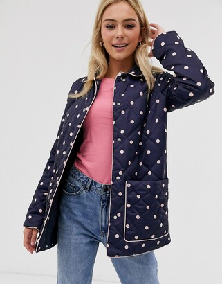 Asos DESIGN quilted jacket in spot print