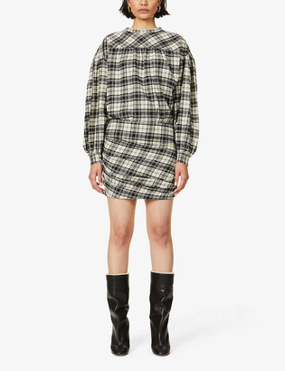 Etoile Isabel Marant Faber checked cotton-blend mini dress