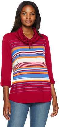 Ruby Rd. Women's Silky French Terry Engineered Stripe Pullover