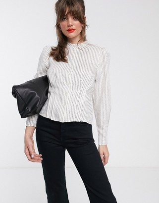 And other stories & metallic stripe puff sleeve high-neck blouse in white
