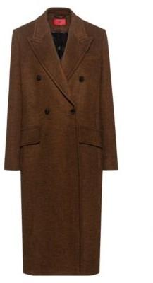 HUGO BOSS Diagonal-stripe long-line coat with peak lapels