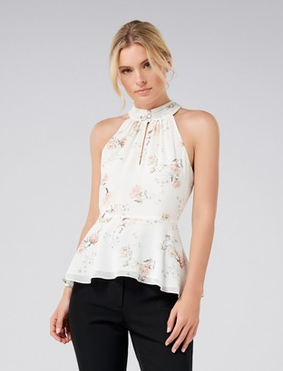 Forever New Bonnie Button Front Halter-Neck Top - Porcelain Bloom - 4