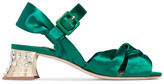 Miu Miu Swarovski Crystal-embellished Satin Sandals - Emerald
