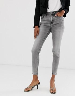 Stradivarius high waist jeans in light grey wash