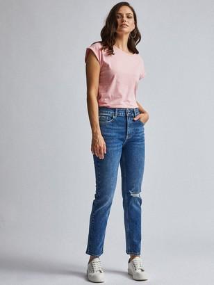 Dorothy Perkins Rip Knee Mid Rise Slim Jeans - Indigo