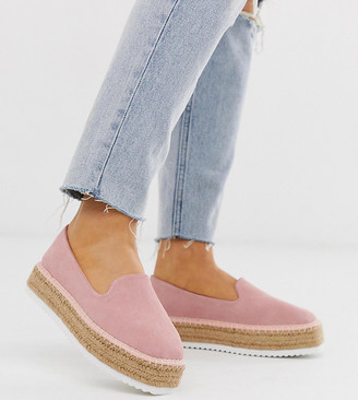 Asos Design DESIGN Wide Fit Jenna suede espadrilles-Pink