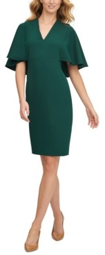 Calvin Klein Cape-Sleeve Sheath Dress