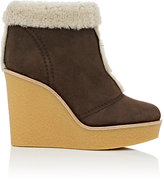 Chloé WOMEN'S SHEARLING-LINED SUEDE WEDGE ANKLE BOOTS SIZE 6