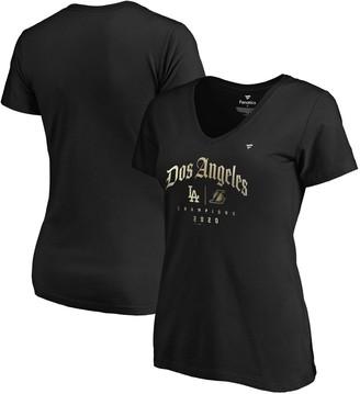 Women's Fanatics Branded Black Los Angeles 2020 Dual City Champions Dos Angeles Plus Size V-Neck T-Shirt