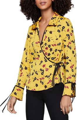 BCBGeneration Floral Long Sleeve Wrap Top