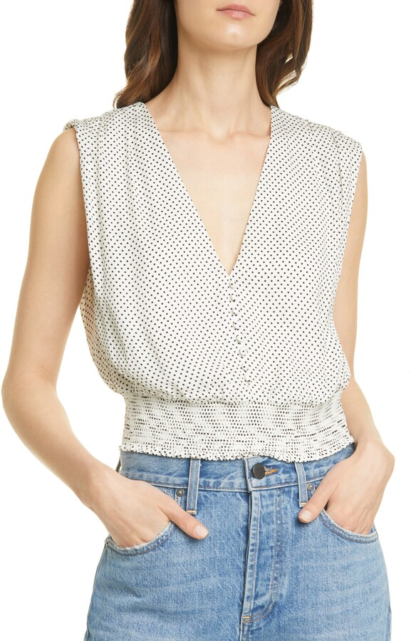 Alice + Olivia Lorretta Smocked Sleeveless Top