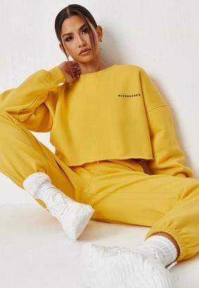 Missguided Yellow Oversized Cropped Sweatshirt