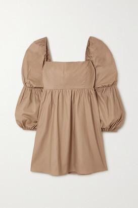 Reformation Net Sustain Michaela Smocked Stretch Organic Cotton Mini Dress - Green