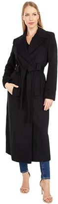 Lauren Ralph Lauren Maxi Belted Wrap Coat (Black) Women's Coat