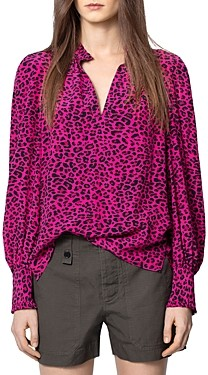 Zadig & Voltaire Animal Print Long-Sleeve Top