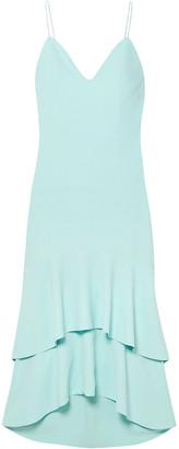 Alice + Olivia Amina Tiered Silk Satin-trimmed Crepe Midi Dress