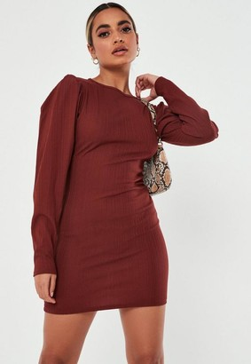 Missguided Recycled Petite Red Rib Ruched Mini Dress