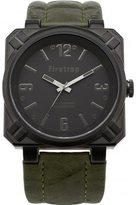 Firetrap Men's Quartz Watch with Green Dial Analogue Display and Green Nylon Strap FT1076KH