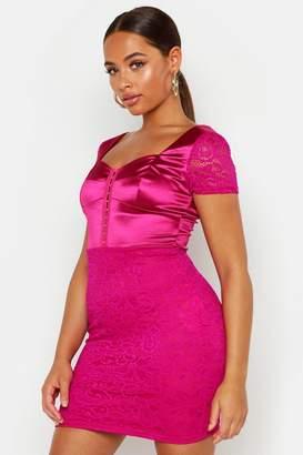 boohoo Satin Mix Lace Mini Dress