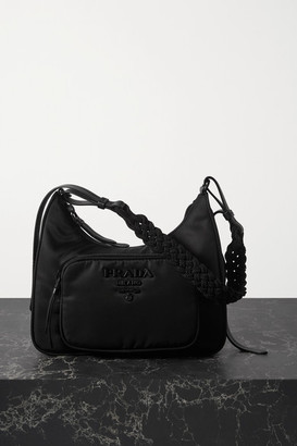 Prada Tessuto Macrame-trimmed Nylon Shoulder Bag - Black