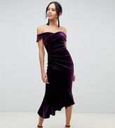 Asos Tall DESIGN Tall Exclusive structured velvet midi bodycon dress