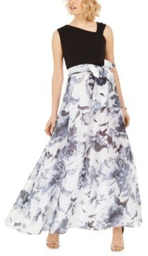 R & M Richards Petite Belted Floral-Skirt Gown