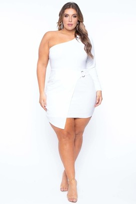 Arabella Curvy Sense One Shoulder Dress in White Size 1X