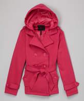 Fuchsia Hooded Trench Coat - Girls