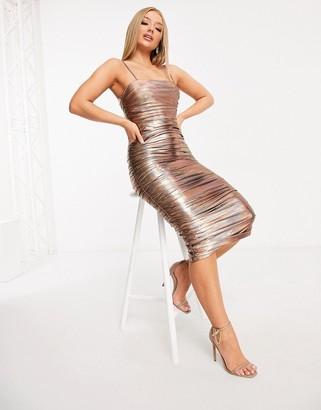 Rare London plunge bodycon dress in bronze iridescent