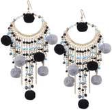 QIYUN.Z Women's Beautiful Hair Ball Drop Earrings with Beads, Dark Gray