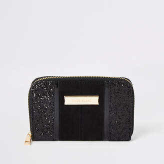 River Island Black glitter small zip around purse