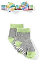 Starting Out Baby Boys Rainbow Plaid Bow Tie & Matching Socks Set