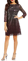Jessica Howard Ombre Metallic Lace Shift Dress