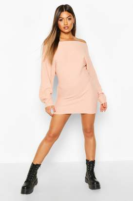 boohoo Ripple Stitch Batwing Knitted Dress