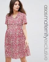 Asos Tea Dress in Red Floral