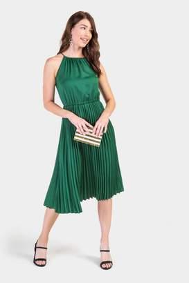 francesca's Flawless Pleated Midi Dress - Evergreen