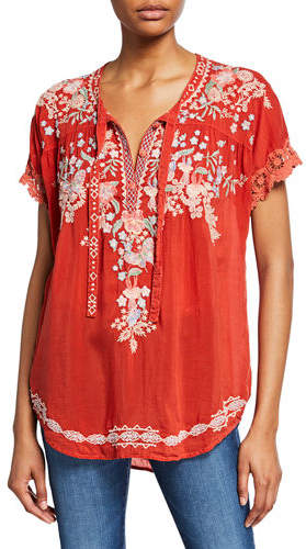 Johnny Was Avril Floral Embroidered Short-Sleeve Georgette Blouse