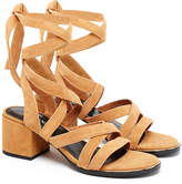 Senso May Camel Suede Lace Up Wrap Mid Heel Sandals