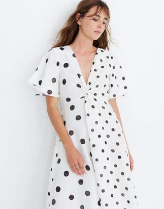 Madewell WHIT Twist Midi Dress in Polka Dot