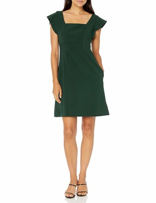 Lark & Ro Women's Fluid Stretch Twill Flutter Sleeve Square Neck Fit and Flare Dress