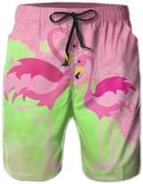 Bmen Pink Flamingos Men's Summer Board Shorts L